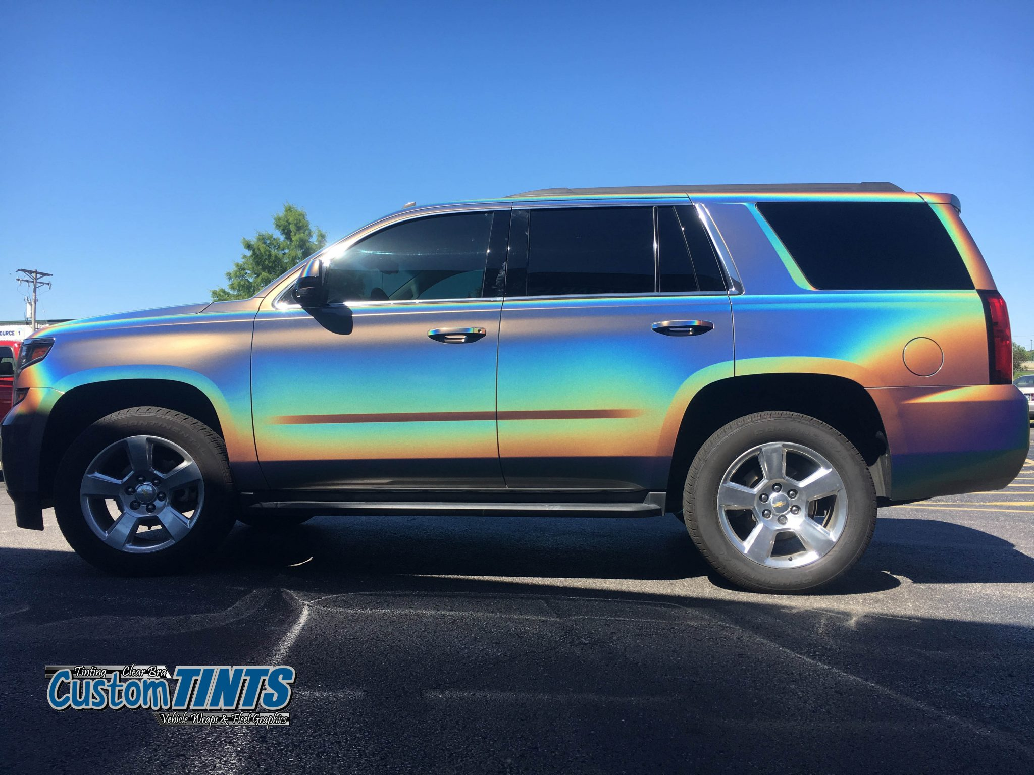 Chevy Tahoe 3m Gloss Flip Psychedelic Wrap Custom Tints